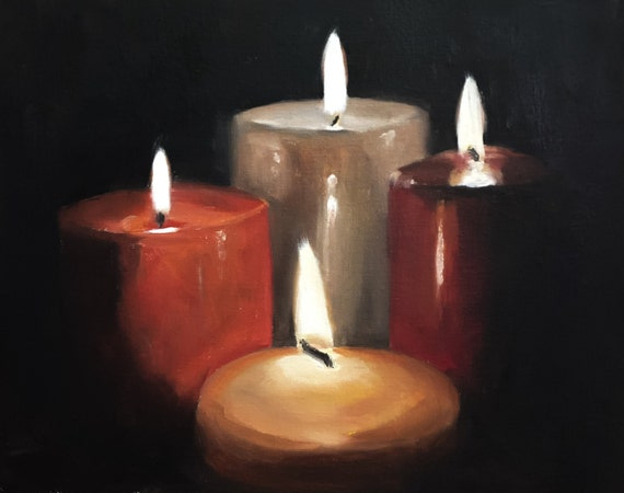 Candles Painting Candles Art PRINT - Art Print -  - from original painting by J Coates