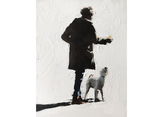 Woman Walking Dog Painting Woman Walking Dog Art PRINT  - Art Print  - from original painting by J Coates