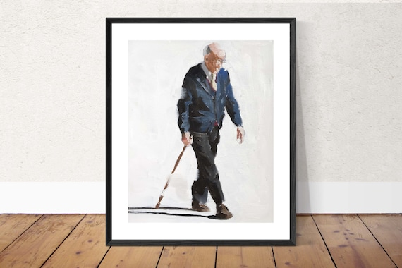 Old Man Painting Old Man Art PRINT Old Man - Art Print - from original painting by J Coates