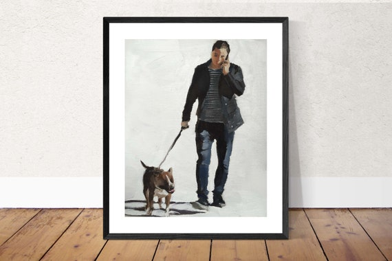 Man Dog painting Man Dog Art Man Dog PRINT Dog Walker Man Walking Dog - Art Print - from original painting by J Coates