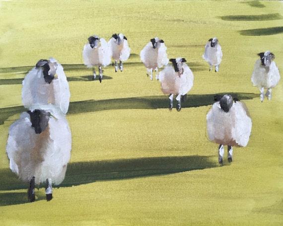 Sheep Painting Sheep Picture art PRINT Lamb Art for nursery, farm animal art, Sheep - Art Print - farmhouse art, rustic decor