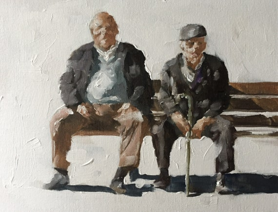 Old Men Painting Old Man Art Old Man PRINT Old Men on Bench - Art Print  - from original painting by J Coates