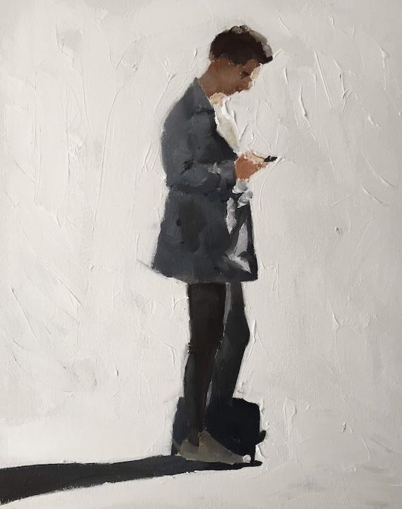 Man painting - Man on Cell Phone Man PRINT Man Walking - Art Print  - from original painting by J Coates