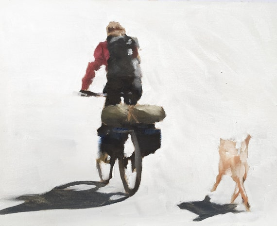 Man Dog Bicycle Painting Cycling Art PRINT Man Riding Bicycle with Dog - Art Pint - from original painting by J Coates
