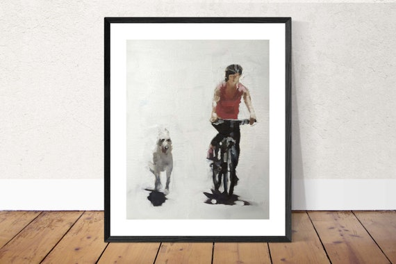 Dog Painting Walking the Dog Art PRINT Dog Walker - from original painting by J Coates