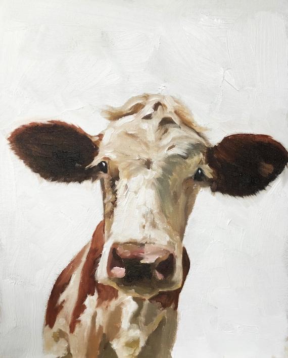 Cow Painting, Cow Art, Cow PRINT - Cow Oil Painting, Holstein Cow, Animal Portrait, Farm Animal Wall Art, Farm Nursery, Cow Poster