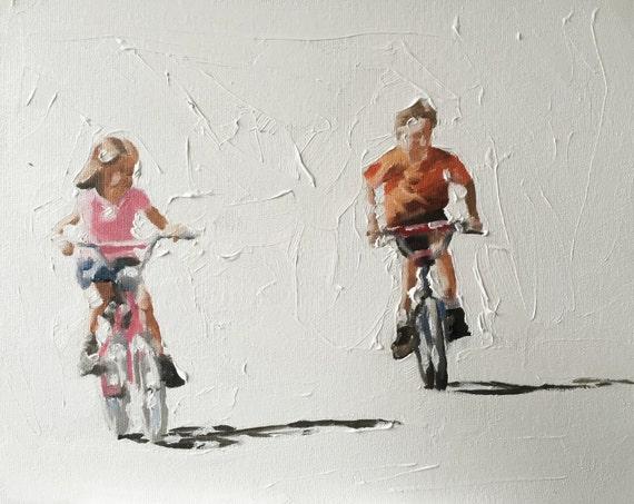 Children Painting Children Art Children PRINT Children Cycling - Art Print - from original painting by J Coates