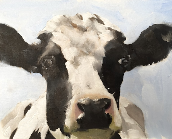Cow Painting Cow Art Cow PRINT - Cow Oil Painting Holstein Cow Original Oil Painting or Print