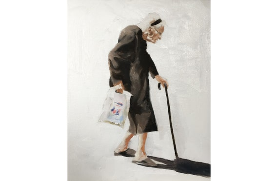 Old Woman Painting Old Lady PRINT Art Old Lady  - Art Print  - from original oil painting by J Coates