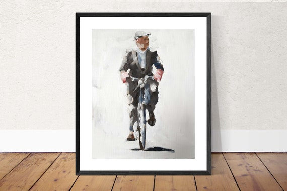 Man on Bicycle Painting Art PRINT Man Riding Bicycle - Art Print - from original painting by J Coates Original Oil Painting or Print