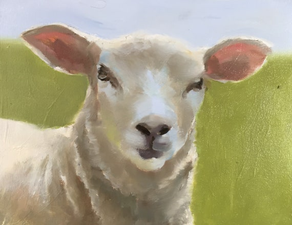 Sheep Painting Sheep Picture art for nursery PRINT Lamb Sheep - rustic art - animal prints, farmhouse art, kids room art, farm animals