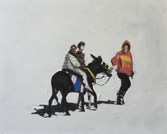 Donkey Painting Donkey Art Donkey Ride PRINT Donkey Ride Art Print - from original painting by J Coates