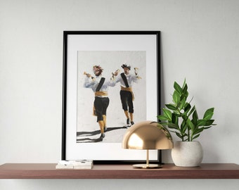 Morris Dancing Painting Dancing Art PRINT Morris Dancers Art Print - from original painting by J Coates