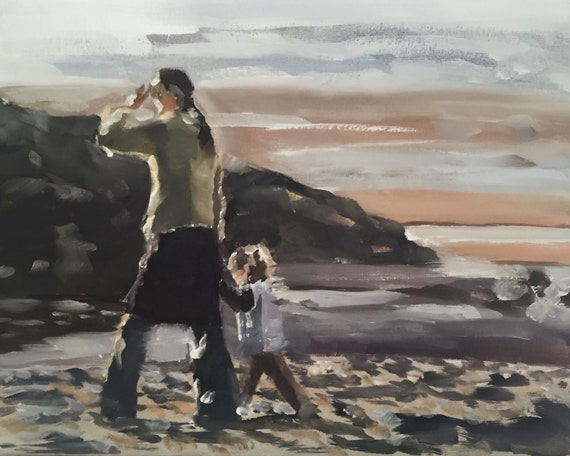 Mother and Daughter Painting Mum Daughter Art PRINT Mother and Daughter Beach - Art Print - from original painting by J Coates