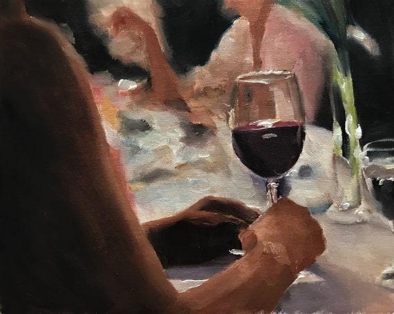 Wine Painting Wine Art Wine PRINT Red Wine Art Print - from original painting by J Coates Original Oil Painting or Print