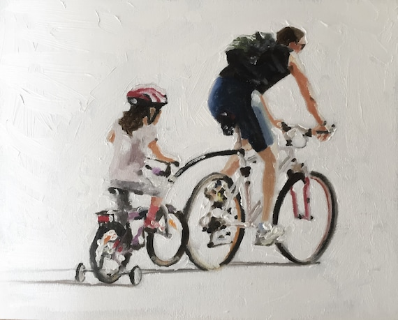 Father Daughter Painting Father Gift Daughter Gift Art PRINT Father and Daughter Cycling - Art Print  - from original painting by J Coates