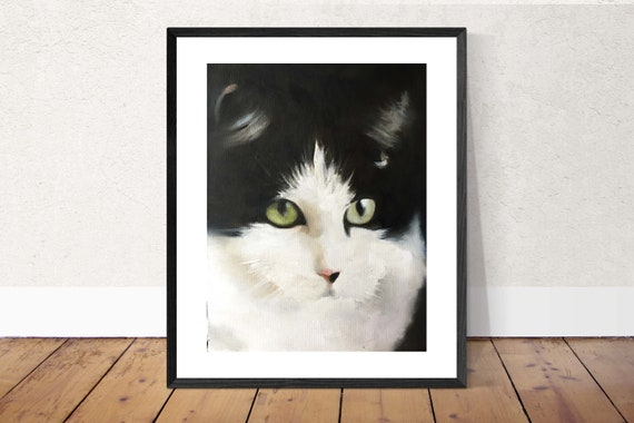 Cat Poster Print Cat Painting Cat Picture Gift Cat Lover Gift Cat Art PRINT, Art for Cat Lovers, Cat Wall Hanging - Black and white cat