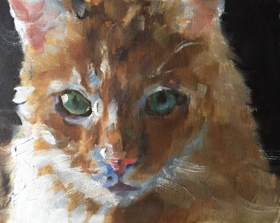 Cat Poster Print Cat Painting Cat Picture Gift Cat Lover Gift Cat Art PRINT, Art for Cat Lovers, Cat Wall Hanging - Art Print ginger cat art