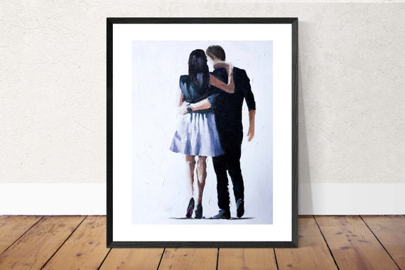 Couple Painting Love Art Love PRINT Couple in Love Walking - Art Print - from original painting by J Coates