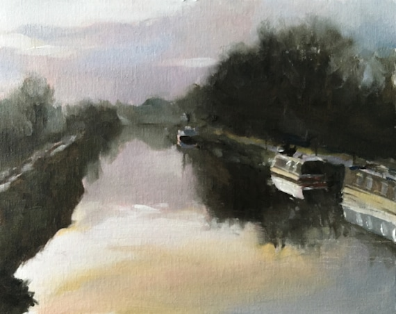 Canal Painting River Painting Art PRINT Canal Boat Barge - Art Print  - from original painting by J Coates