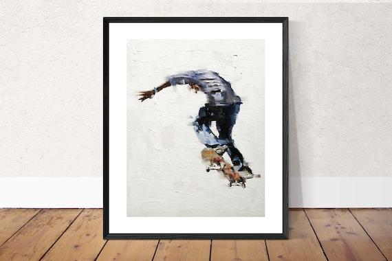 Painting of Skateboarder Skateboard Art  Poster, Skateboarding, Boys Room Decor, Skateboard Decor, Teen Boy Gift, boys room decor