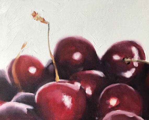 Cherries Painting Cherries Art Cherries PRINT Fruit Still Life Cherries - Art Print  - from original painting by J Coates