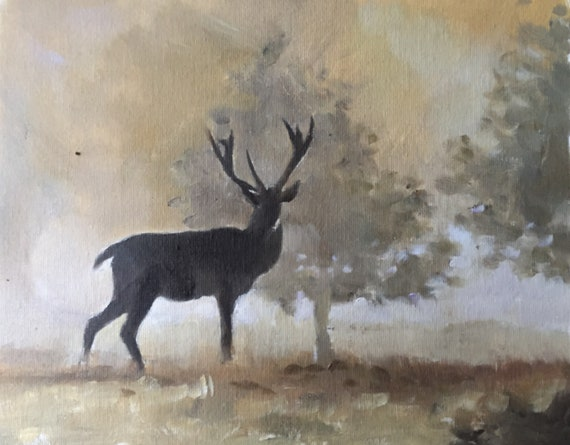 Deer Painting Stag Art PRINT Deer - Art Print  - from original painting by J Coates