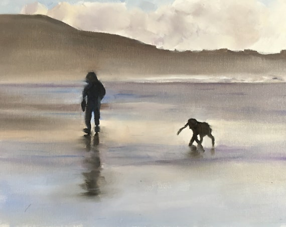 Dog on Beach Painting dog Beach Art PRINT Beach Dog - Art Print - from original painting by J Coates