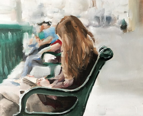 Woman on Bench Painting Woman Art PRINT Woman on Bench - Art Print - from original painting by J Coates