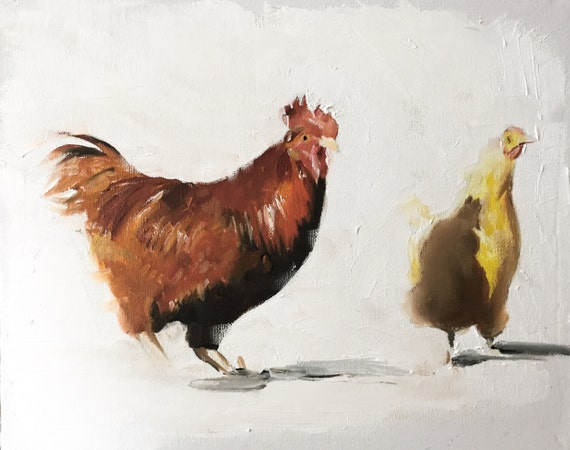 Chickens Painting Hens Art Hens PRINT Art Print - from original painting by J Coates
