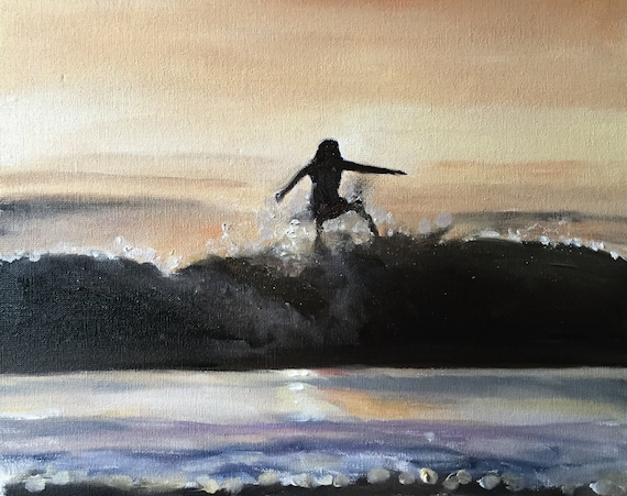 Surfer Painting Surfer Art PRINT Surfing Beach Sea Surfer - Art Print  - from original painting by J Coates
