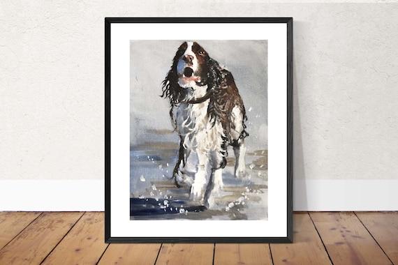Dog on Beach Painting dog Beach Art PRINT Beach Dog - Art Print - from original painting by J Coates Original Oil Painting or Print