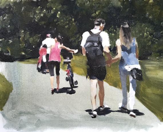 Central Park Art Print, New York City Painting, Central Park Painting, Summer in the City, People of New York, Manhattan painting