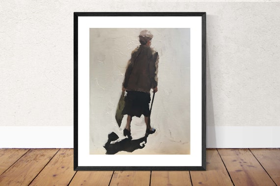 Old Woman Feeding Ducks Painting Old Lady PRINT Art Old Lady  - Art Print  - from original oil painting by J Coates
