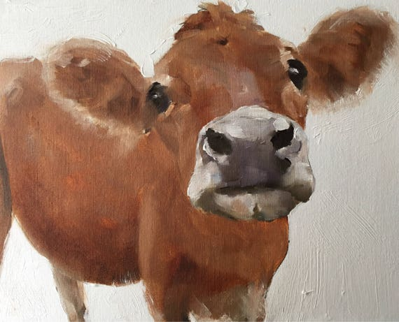 Cow Painting, Cow Art, Cow PRINT - Cow Oil Painting, Holstein Cow, Cow Lover Gift, Farmhouse Art, Country Art, Rustic Wall Art, Nursery Art