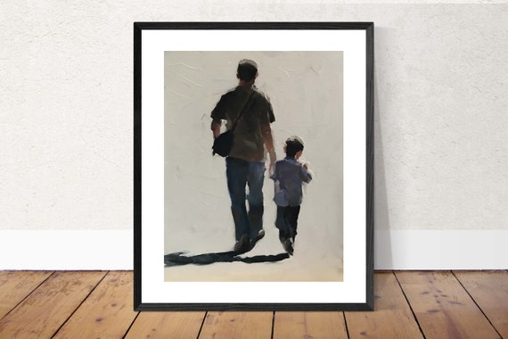 Father and Son Painting Father Son Art PRINT Walking Painting - Art Print - from original painting by J Coates