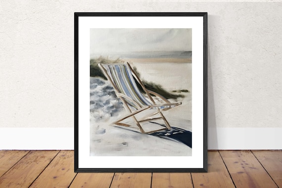 Beach Art Beach Painting Beach PRINT Deck Chair on Beach - Art Print - from original painting by J Coates Original Oil Painting or Print