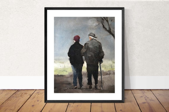 Old Couple Painting Couple Painting Art PRINT - Art Print - from Original painting by J Coates