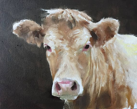 Cow Painting Cow Art Cow PRINT - Cow Oil Painting Holstein Cow