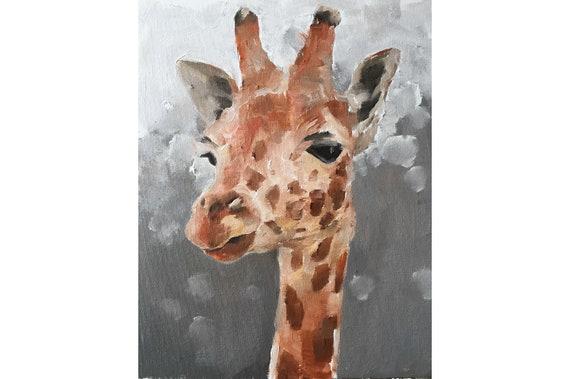 Giraffe Painting Giraffe Art PRINT Giraffe - Art Print - from original painting by J Coates Original Oil Painting or Print