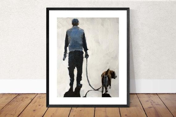 Dog Walking Painting Dog Walker Art PRINT Walking the Dog - Art Print - from original painting by J Coates Original Oil Painting or Print