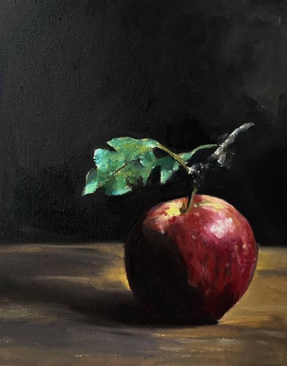 Apple Painting Apple Still Life Art PRINT - Apple Oil Painting Apple Fruit Art Original Oil Painting or Print