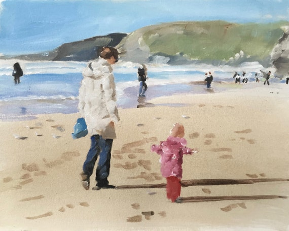 Beach Painting Mother and Daughter Art PRINT Beach Scene - Art Print - from original painting by J Coates