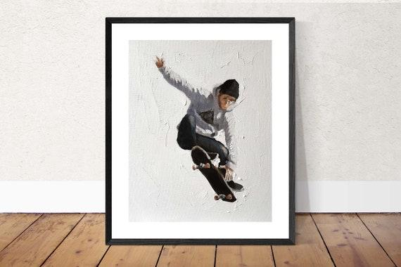 Skateboarder Painting Skating Art PRINT Skateboarder - Art PRINT - from original painting by J Coates Original Oil Painting or Print