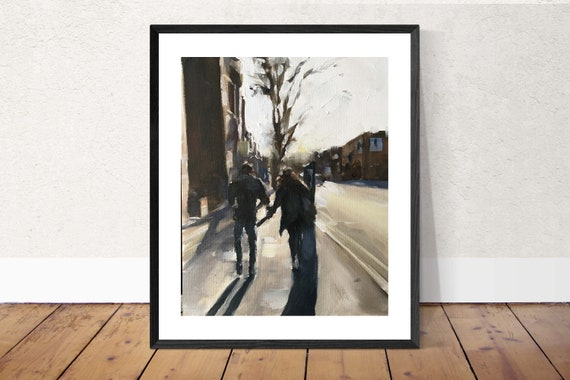 Couple in Street Sheffield Love Painting Couple Art Love PRINT - Art Print  - from original painting by J Coates
