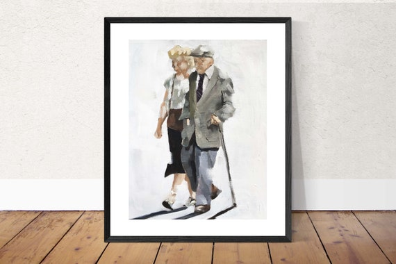 Old Couple Painting Couple Art PRINT Old Couple - Art Print - from original painting by J Coates Original Oil Painting or Print
