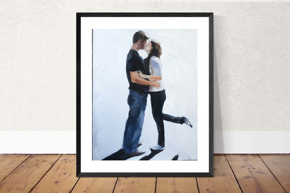 Kissing painting kiss art kissing PRINT Couple Lovers Kissing - Art Print  - from original painting by J Coates
