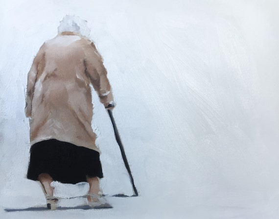 Old lady painting Old Art PRINT Old Lady Walking - Art Print - from original painting by J Coates