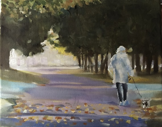 Woman Walking Painting Woman Walking Art PRINT  - Art Print  - from original painting by J Coates