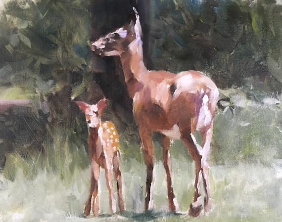 Deer Painting Stag Art PRINT Deer - Art Print  - from original painting by J Coates Woodland Art Print